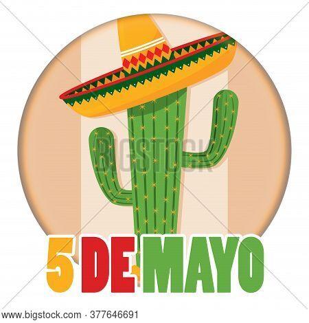 Cinco De Mayo Template. Cactus, Guitar, Mexican Hat And Maracas - Vector
