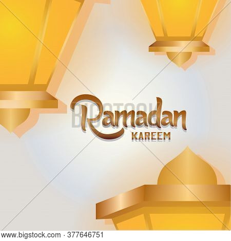 Ramadan Kareem Card With A Lantern - Vector
