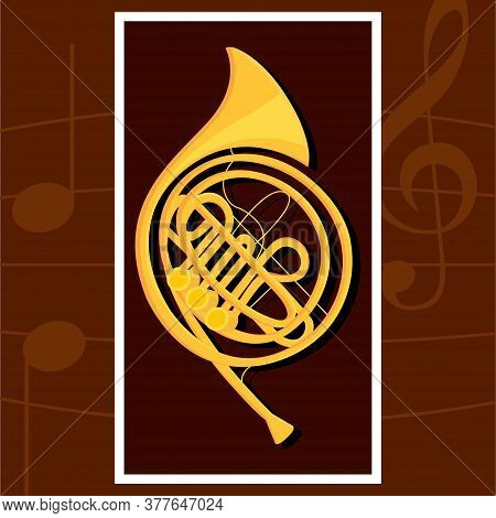 Classical French Horn. Wind Musical Instrument - Vector