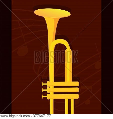 Classical Trumpet Image. Wind Musical Instrument - Vector