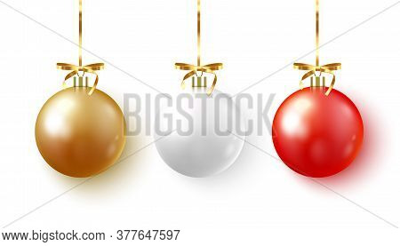 Set Of Christmas Bauble With Ribbon And Bow On White Background. Vector Illustration