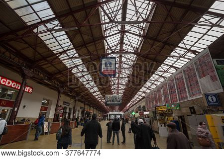 Bucharest, Romania - February 15, 2020: Main Departures Hall Of Gara De Nord, The Main Railway Stati