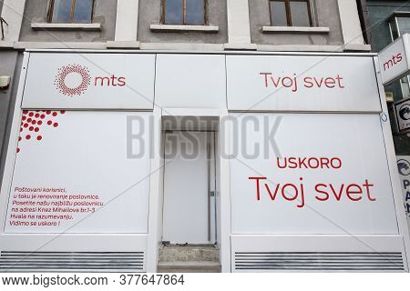 Belgrade, Serbia - March 2, 2019: Mts Srbija Logo On Their Main Boutique In Belgrade. Also Called Te