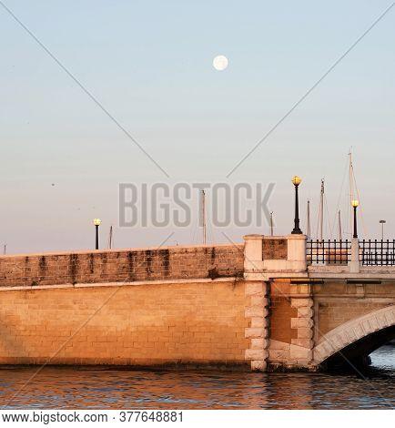 Old Bridge In Taranto City. Italy, Puglia