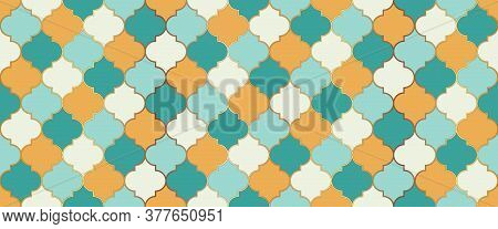 Ramadan Traditional Mosque Golden Motif. Ramadan Kareem Islamic Illustration. Arabic Mosque Window T