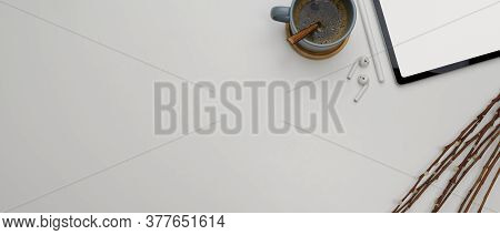 Modern Worktable With Copy Space, Mock Up Tablet, Coffee Cup And Decoration