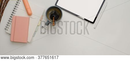 Study Table With Mock Up Tablet, Stationery, Coffee Cup And Copy Space