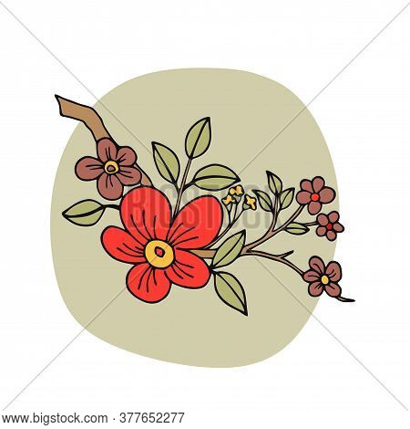 Blossom Flower With Leaves On Branch. Black Outline Isolated On White. Botany Illustration. Garden F
