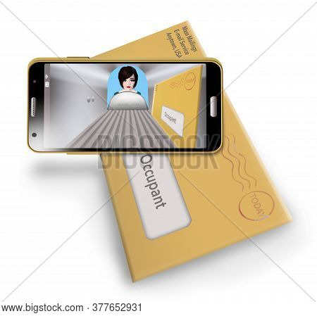 A Woman Find Junk Mail From Her Mailbox And Junk E-mail On Her Phone In A 3-d Illustration.
