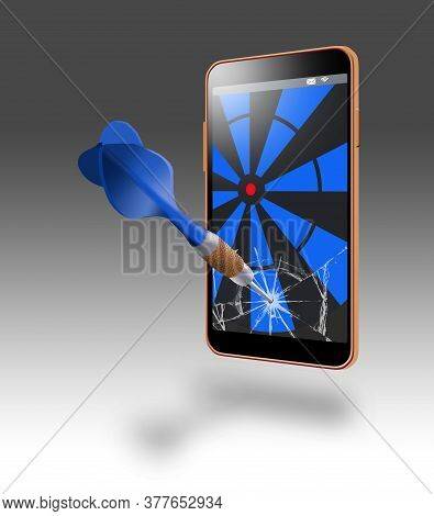 Here Is A 3-d Image Of A Cell Phone With A Glass Screen Shattered By An Errant Dart. A Darboard Targ