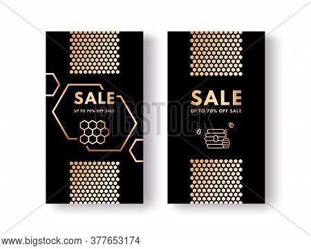 Vector Set Of Social Media Stories Sale Honey Gold Gradient Honeycombs, Honeybees, Honey Stick And B