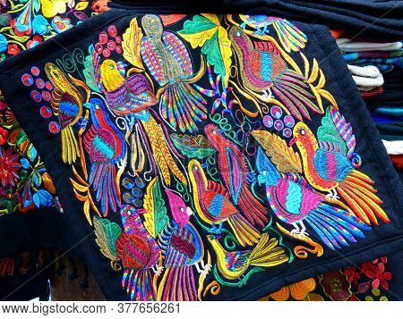 Cuenca, Ecuador - November 2, 2019: Close Up Of сolorful Embroidered Decorative Textile From Otavalo