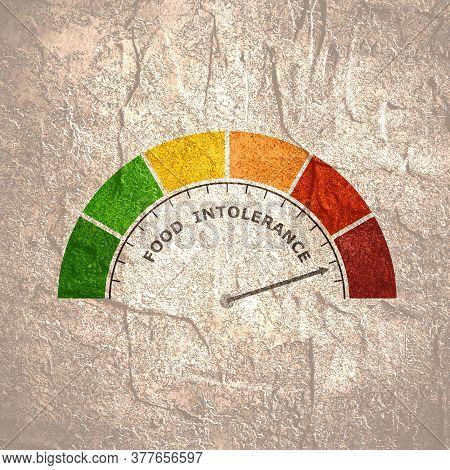 Food Intolerance Measuring Device Icon. Sign Tachometer, Speedometer, Indicators. Infographic Gauge