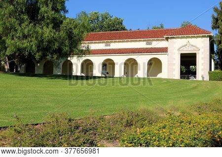 July 22, 2020 In Whittier, Ca:  Historical Spanish Style Building Surrounded By A Manicured Lawn And