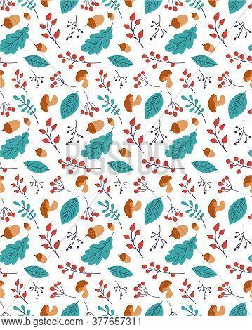 Autumn Leaf Seamless Vector Pattern. Hand Drawn Autumn Leaf. Design For Poster, Kitchen Textiles, Cl