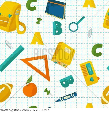 School Supplies Vector Seamless Pattern With Texture. Back To School Background. Hand Drawn Pattern