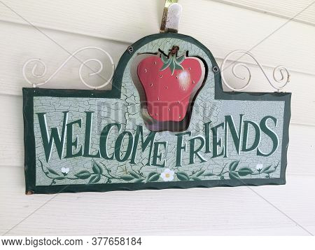 Wooden Welcome Sign Homey And Country Charm On Wall