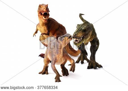 Two Tyrannosaurus Dinosaurs Are Hunting For Isolated Prey On A White Background.