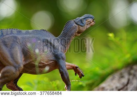 Iguanodon Dinosaurs Toy On On The Big Tree In The Deep Forest Background.