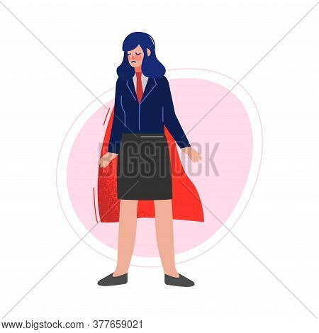 Businesswoman Wearing Red Waving Cape, Successful Superhero Business Person Character, Leadership, C