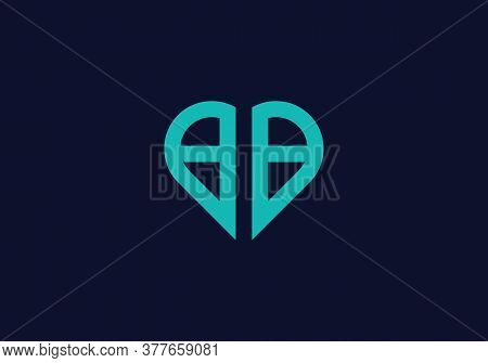 Letter Bb Logo Design With Creative Modern Trendy With Love Shape