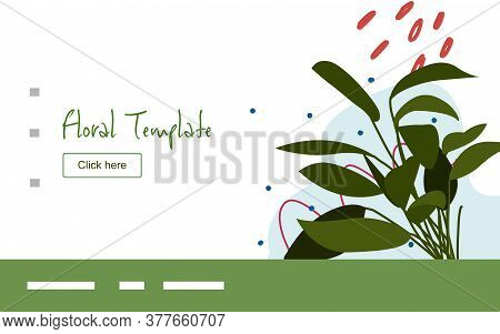 Floral Clump Of Leaf Plant Campaign For Web Website Home Homepage Template Landing Page Banner With