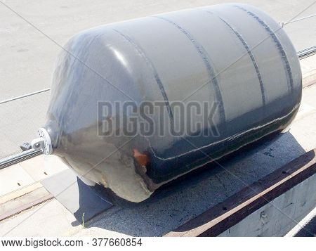 Large Rubber Naval Marine Inflated Hull Dock Bumper Guard On Uss Iowa Naval Warship Destroyer Battle
