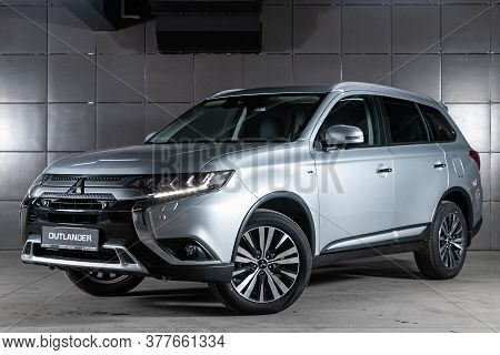 Novosibirsk/ Russia - May 25 2020: Silver Mitsubishi Outlander, Front View. Photography Of A Modern