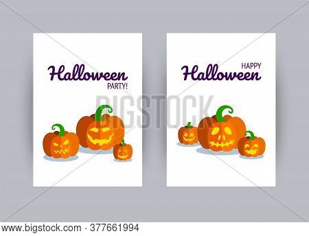 Greeting Card For Halloween Party. Carved Halloween Pumpkins. Vector Illustration In Flat Style