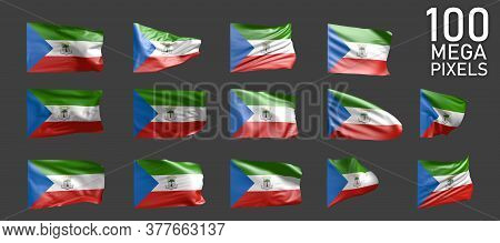 Equatorial Guinea Flag Isolated - Different Pictures Of The Waving Flag On Grey Background - Object