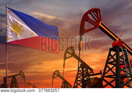 Philippines Oil Industry Concept, Industrial Illustration. Philippines Flag And Oil Wells And The Re
