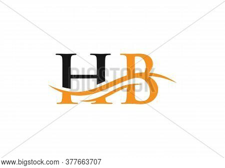 Water Wave Hb Logo Vector. Swoosh Letter Hb Logo Design For Business And Company Identity.