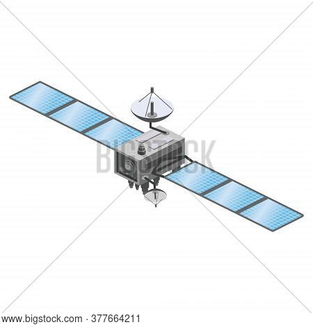 Satellite Artificial Communication Wireless Technology Gps . Spacecraft With Solar Panels. Vector Il