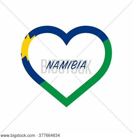 Namibia Flag In Heart. I Love My Country. Sign. Stock Vector Illustration Isolated On White Backgrou