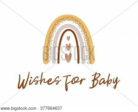 Wishes For Baby. Boho Baby Shower Game. Cute Kids Rainbow Card. Gender Neutral Baby Shower Invite Ve