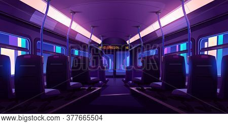 Empty Bus Or Train Interior With Chairs, Handrails And Windows At Night. Vector Cartoon Cabin Of Pas