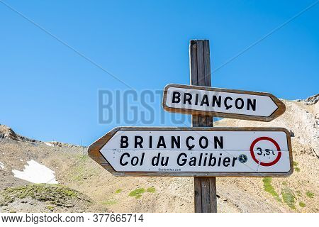 Col Du Galibier, France - July 8, 2020: The Col Du Galibier At 2642 Metres Is A French Alpine Mounta