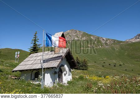 Col Du Lautaret, France - July 7, 2020: French National Flag Hung Before The Holiday Of July 14 At T