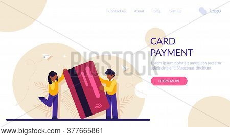 Concept Of Service For Secure Electronic Or Wireless Payment. Man And Woman Holding Plastic Debit Or