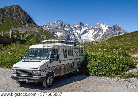 Col Du Lautaret, France - July 7, 2020: Vintage Motorhome At The Alpine Mountain Pass Col Du Lautare