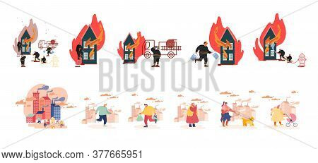 Set Male Female Characters Living In Polluted City With Factory Pipes Emitting Smoke. Fire Fighters