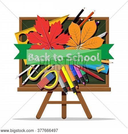 Green Chalkboard. Ruler Pen Pencil Scissors Books Sharpener Eraser Marker Divider Ruler Autumn Leaf.