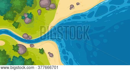 River Flow Into Sea Or Pond Top View, Cartoon Narrow Riverbed Going To Wide Water With Rocks, Grass