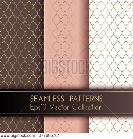Turkish Or Moroccan Quatrefoil Seamless Patterns Set. Traditional Mosque Patterns In Brown Rose Pink