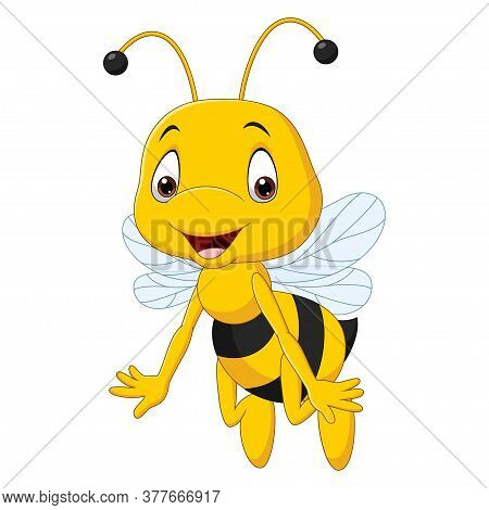 Vector Illustration Of Cartoon Happy Bee Isolated On White Background