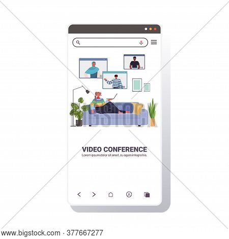 Woman Chatting With Mix Race Friends During Video Call People Having Online Conference Meeting Commu