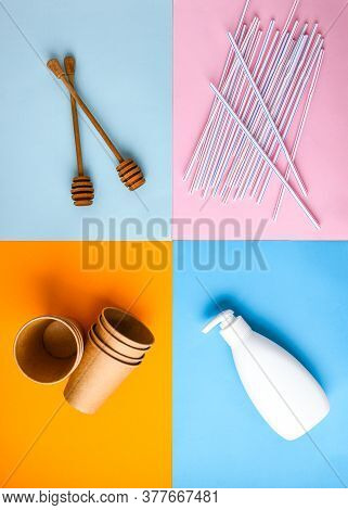 Zero Waste Eco Friendly Reusable Objects Such As Reusable Craft Paper Cups, Wooden Hairbrush Vs Plas