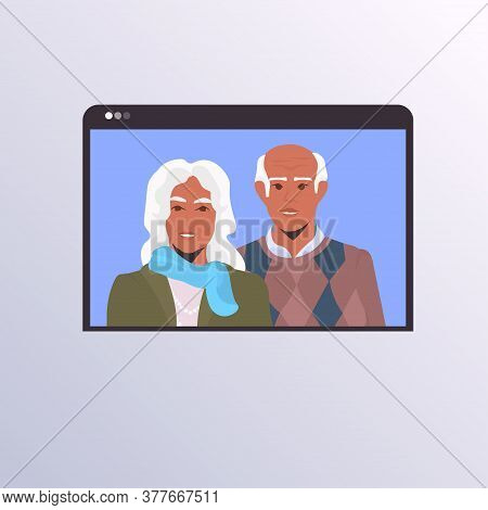 Senior Couple Having Virtual Conference During Video Call Quarantine Isolation Communication Family