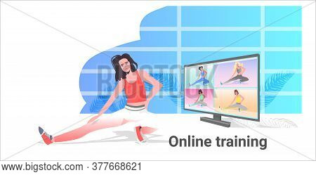 Woman Doing Yoga Fitness Exercises Girl Watching Tutorials On Tv Online Training Healthy Lifestyle C