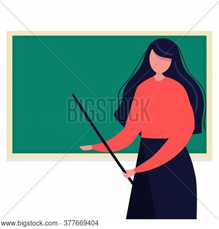 Young Female Teacher On Lesson At Blackboard. Teacher With Pointer, Teacher Showing On Board. Flat.